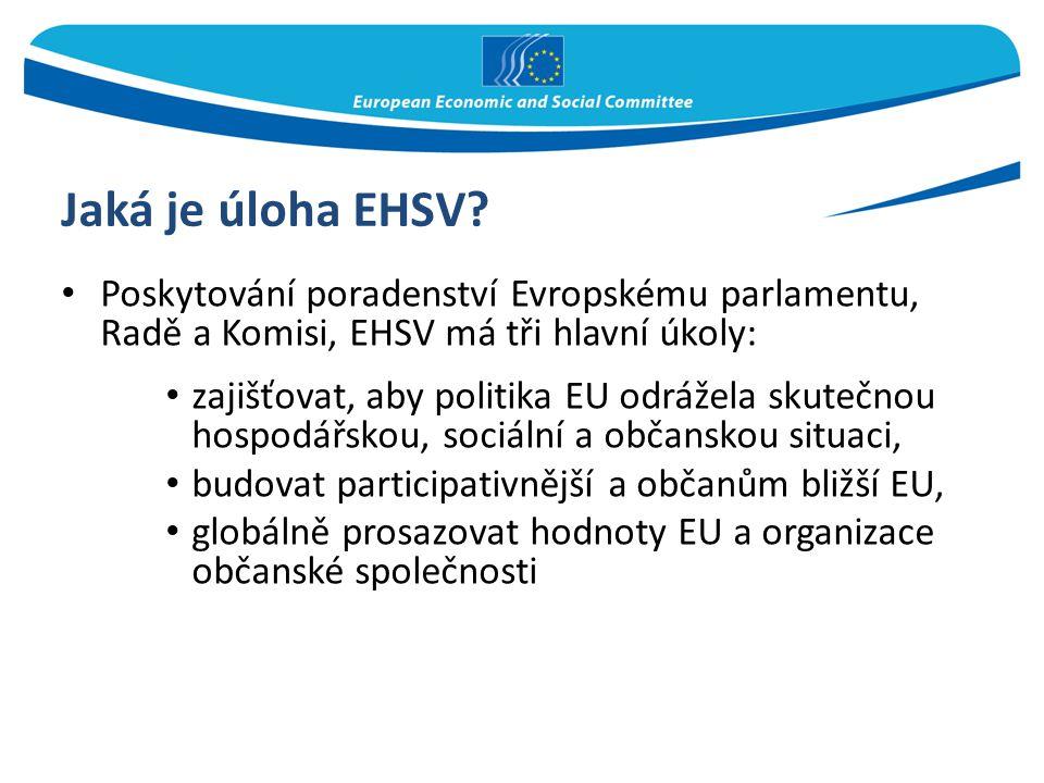 Jaká je úloha EHSV? Poskytování poradenství Evropskému parlamentu, Radě a Komisi, EHSV má tři hlavní úkoly: zajišťovat, aby politika EU odrážela skute
