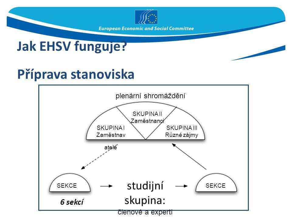 Jak EHSV funguje? Příprava stanoviska 6 sekcí plenární shromáždění SKUPINA II Zaměstnanci SKUPINA I Zaměstnav atelé SKUPINA III Různé zájmy SEKCE stud
