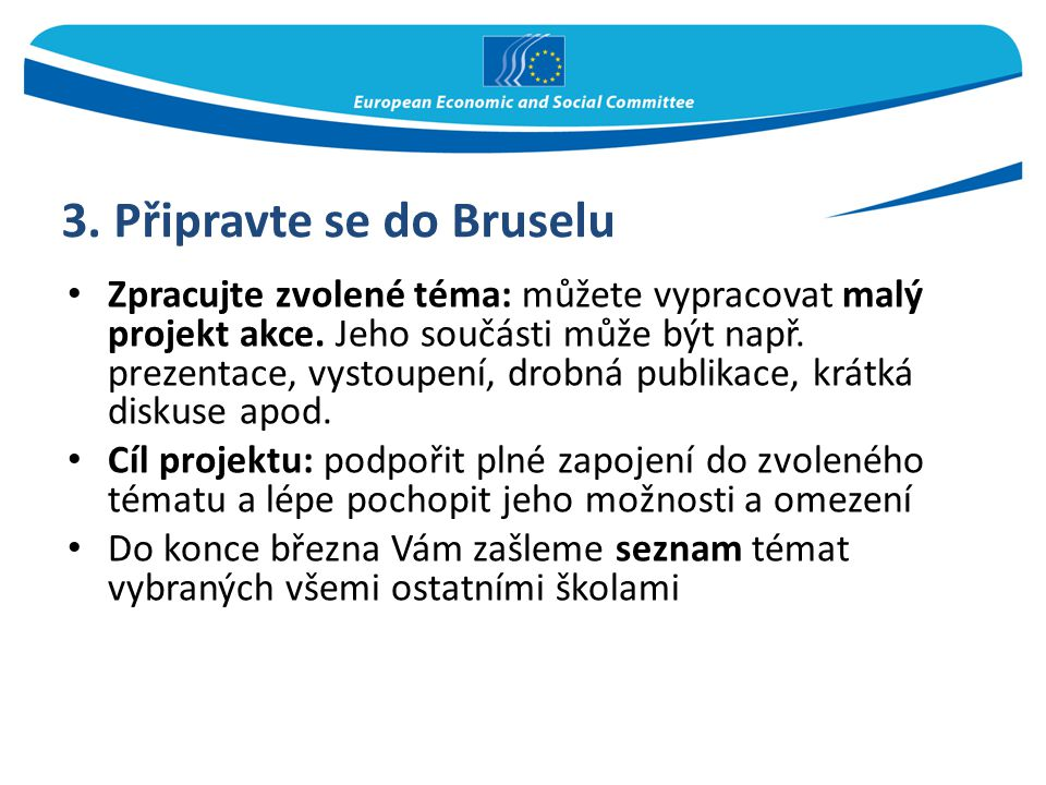 3. Připravte se do Bruselu Zpracujte zvolené téma: můžete vypracovat malý projekt akce. Jeho součásti může být např. prezentace, vystoupení, drobná pu