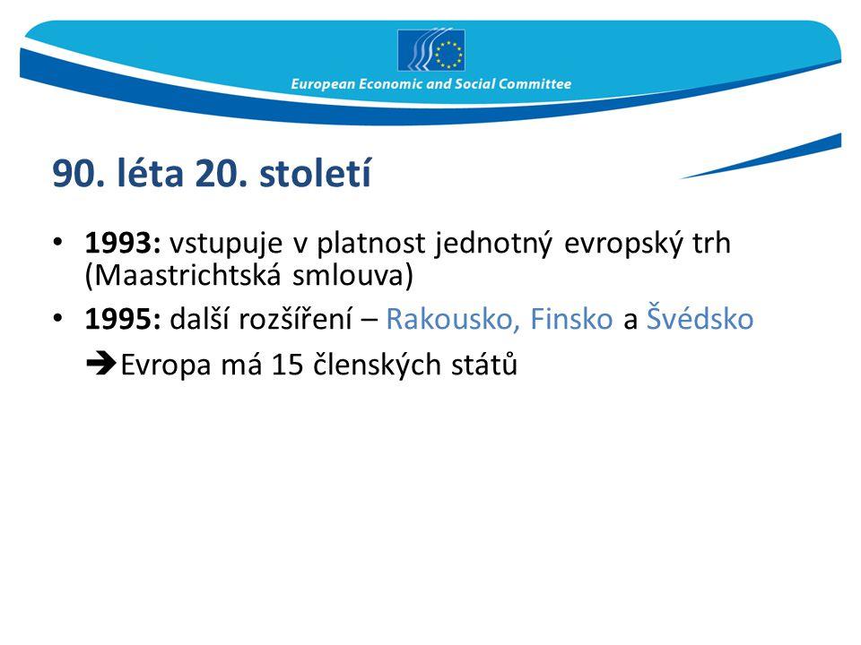 90. léta 20. století 1993: vstupuje v platnost jednotný evropský trh (Maastrichtská smlouva) 1995: další rozšíření – Rakousko, Finsko a Švédsko  Evro