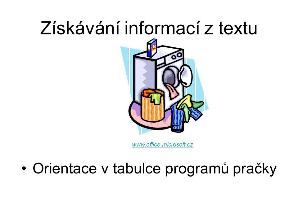 Doporučení Tabulku programů pračky mějte vždy při ruce! www.office.microsoft.cz