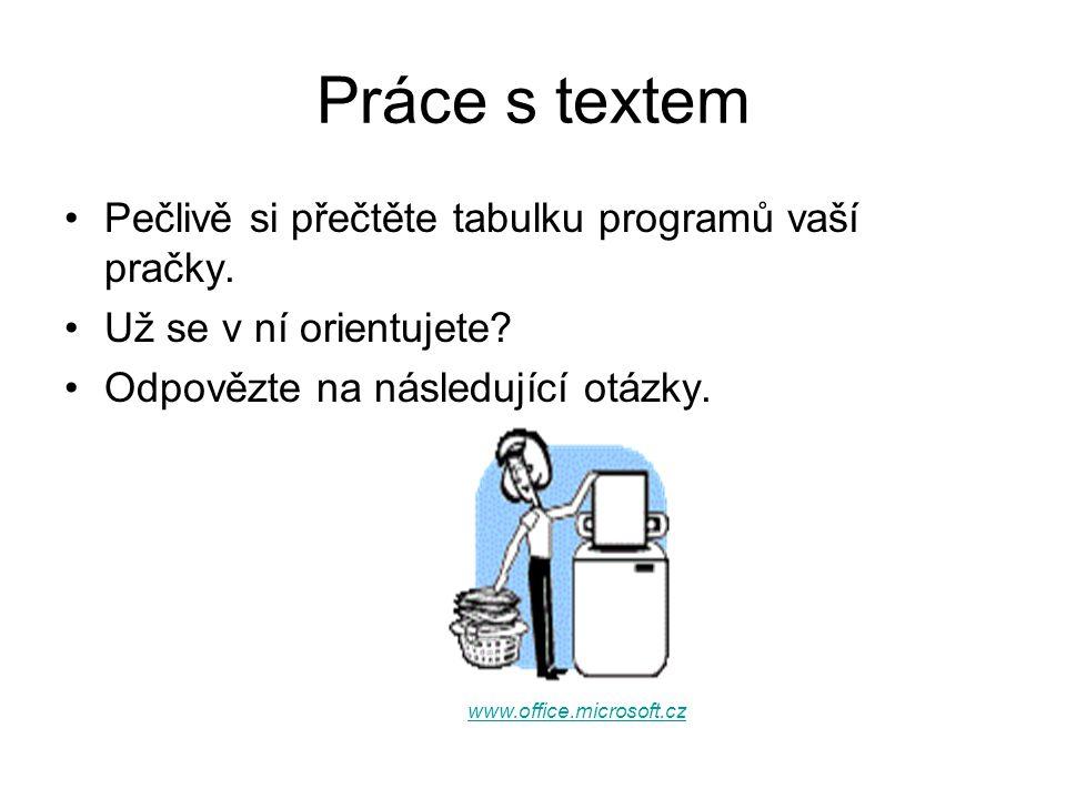 Práce s textem Pečlivě si přečtěte tabulku programů vaší pračky. Už se v ní orientujete? Odpovězte na následující otázky. www.office.microsoft.cz
