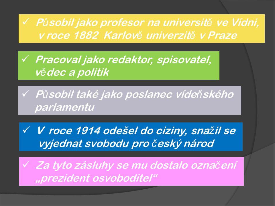 P ů sobil jako profesor na universit ě ve Vídni, v roce 1882 Karlov ě univerzit ě v Praze Pracoval jako redaktor, spisovatel, v ě dec a politik P ů so