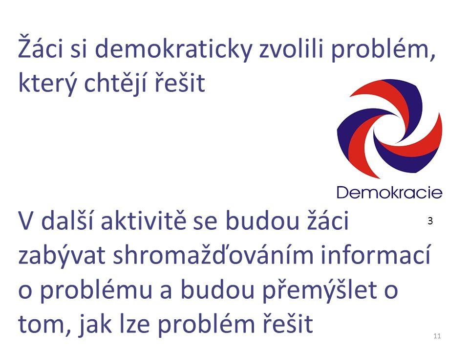 11 Žáci si demokraticky zvolili problém, který chtějí řešit V další aktivitě se budou žáci zabývat shromažďováním informací o problému a budou přemýšl