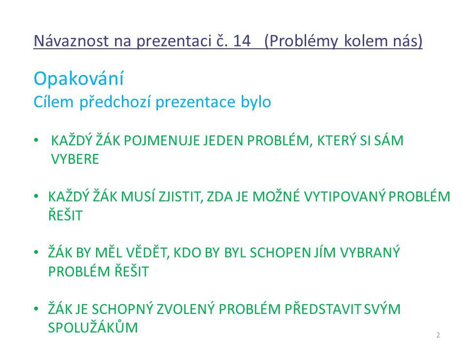 2 Návaznost na prezentaci č. 14 (Problémy kolem nás) Opakování Cílem předchozí prezentace bylo KAŽDÝ ŽÁK POJMENUJE JEDEN PROBLÉM, KTERÝ SI SÁM VYBERE