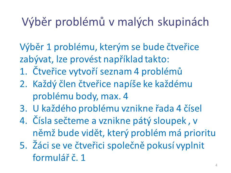 Výběr problémů v malých skupinách 4 Výběr 1 problému, kterým se bude čtveřice zabývat, lze provést například takto: 1.Čtveřice vytvoří seznam 4 problé