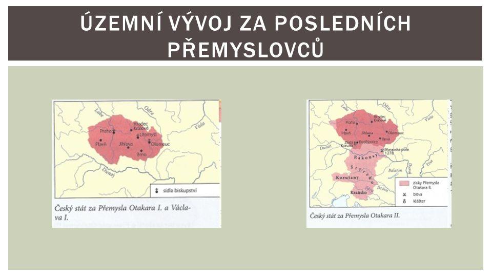 """ 1253 – 1278  území rozšířil až k Jaderskému moři  připojil Chebsko, Rakousy, Korutany, Štýrsko a další území  účastnil se i křížové výpravy do Litvy  založil tam město Královec (dnešní Kaliningrad)  patřil mezi nejmocnější evropské panovníky  nazýván """"králem železným a zlatým  snažil se získat i korunu krále Svaté říše římské PŘEMYSL OTAKAR II."""