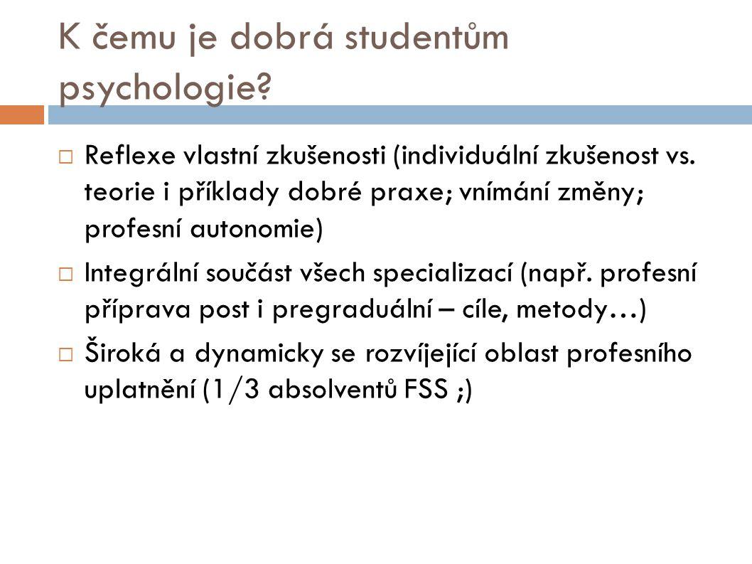K čemu je dobrá studentům psychologie?  Reflexe vlastní zkušenosti (individuální zkušenost vs. teorie i příklady dobré praxe; vnímání změny; profesní