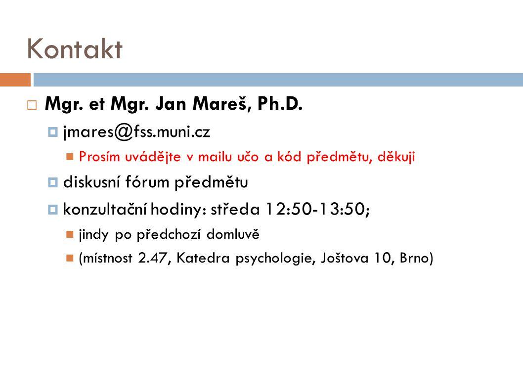Kontakt  Mgr. et Mgr. Jan Mareš, Ph.D.  jmares@fss.muni.cz Prosím uvádějte v mailu učo a kód předmětu, děkuji  diskusní fórum předmětu  konzultačn
