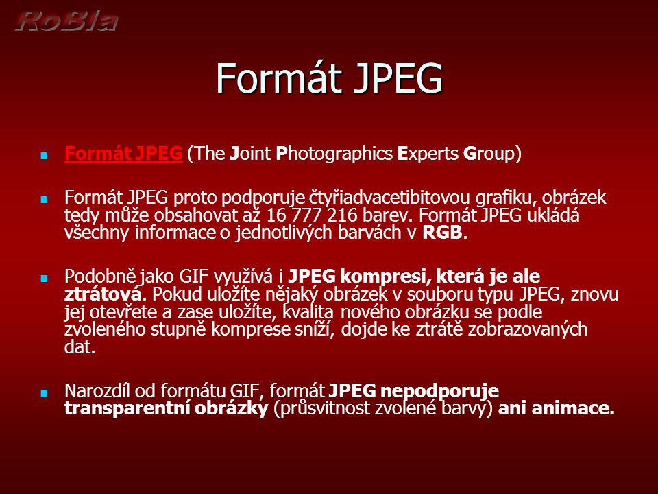 Formát JPEG Formát JPEG (The Joint Photographics Experts Group) Formát JPEG proto podporuje čtyřiadvacetibitovou grafiku, obrázek tedy může obsahovat