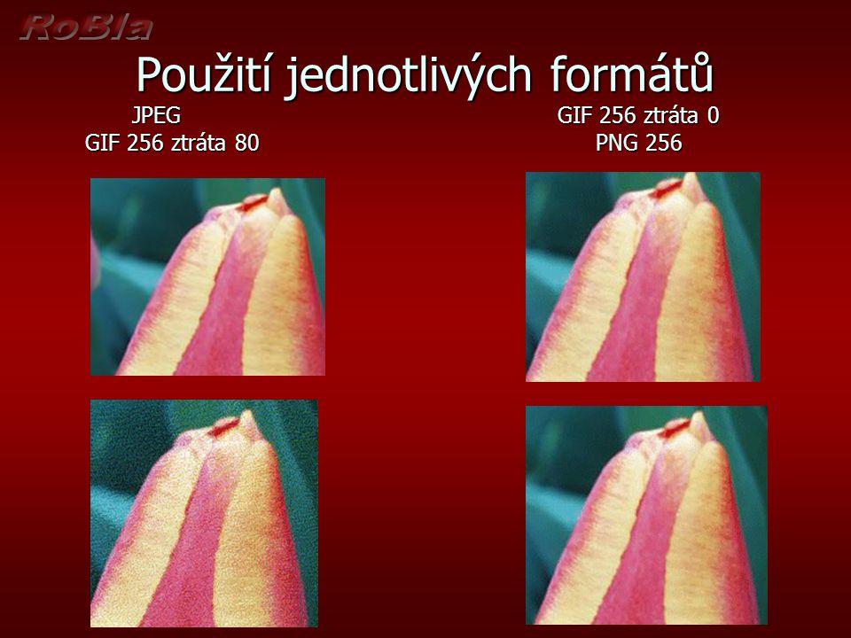 Použití jednotlivých formátů JPEGGIF 256 ztráta 0 GIF 256 ztráta 80PNG 256