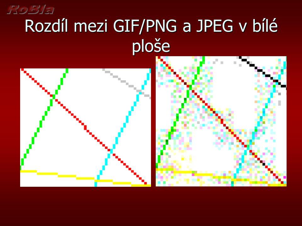 Rozdíl mezi GIF/PNG a JPEG v bílé ploše