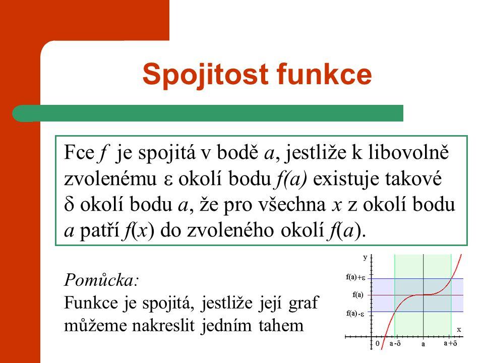 Spojitost funkce Pomůcka: Funkce je spojitá, jestliže její graf můžeme nakreslit jedním tahem Fce f je spojitá v bodě a, jestliže  k libovolně zvolen