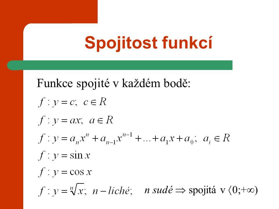 Spojitost funkcí Funkce spojité v každém bodě: f: y = c, c  R spojitá v každém bodě f: y = xspojitá v každém bodě f: y = a n x n +a n-1 x n-1 +...+a