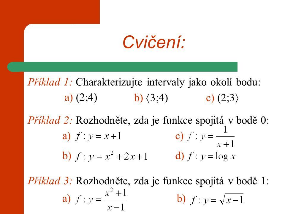 Cvičení: Příklad 1: Charakterizujte intervaly jako okolí bodu: Příklad 2: Rozhodněte, zda je funkce spojitá v bodě 0: a) (2;4) b)  3;4)c) (2;3  a) b