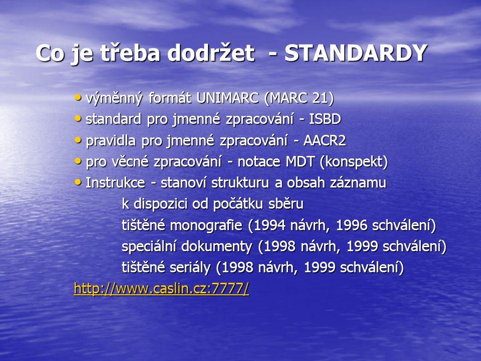 Podporované formáty dat 8 - exportní soubor z ALEPH 300 8 - exportní soubor z ALEPH 300 5 - řádkový UNIMARC 5 - řádkový UNIMARC 32 - UNIMARC ISO 2709 32 - UNIMARC ISO 2709 7 - výměnný formát ISO 2709 7 - výměnný formát ISO 2709 1 - výměnný formát, exportní soubor ze systému CDS/ISIS 1 - výměnný formát, exportní soubor ze systému CDS/ISIS 1 - exportní soubor z ALEPH 500 1 - exportní soubor z ALEPH 500 MARC 21 MARC 21