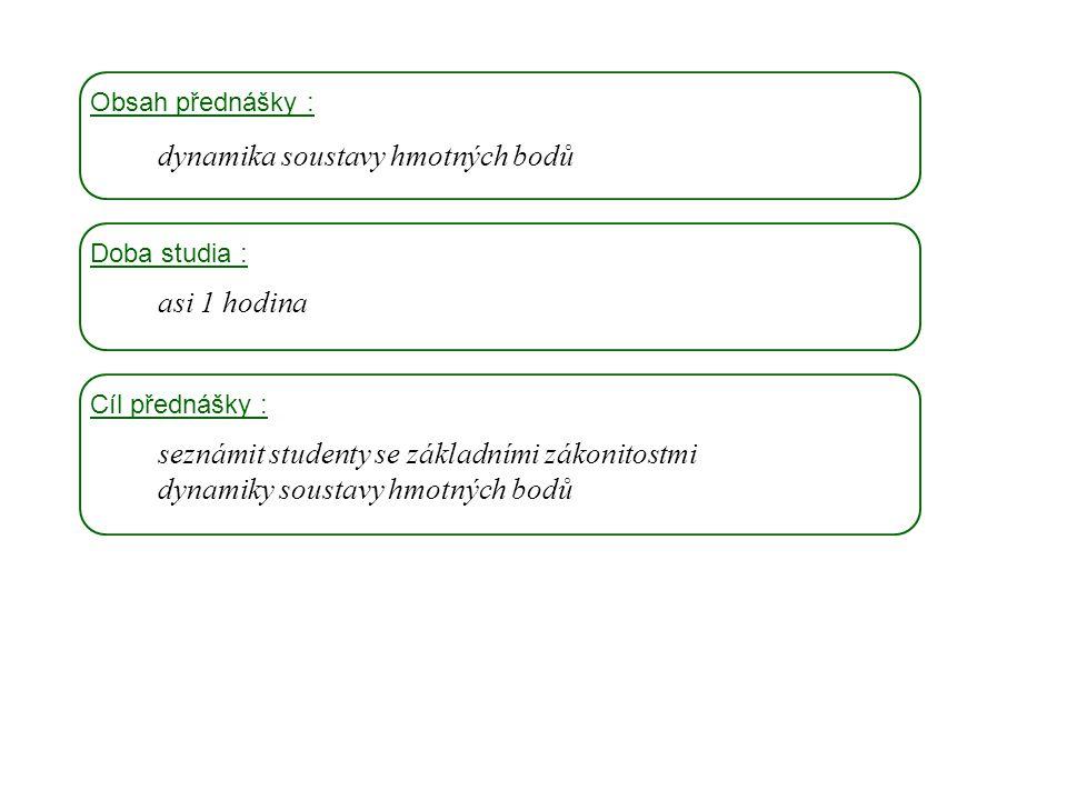 Dynamika I, 4. přednáška Obsah přednášky : dynamika soustavy hmotných bodů Doba studia : asi 1 hodina Cíl přednášky : seznámit studenty se základními