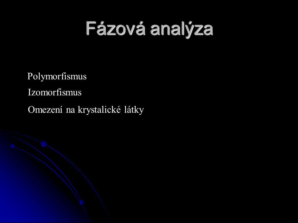 Fázová analýza Polymorfismus Izomorfismus Omezení na krystalické látky