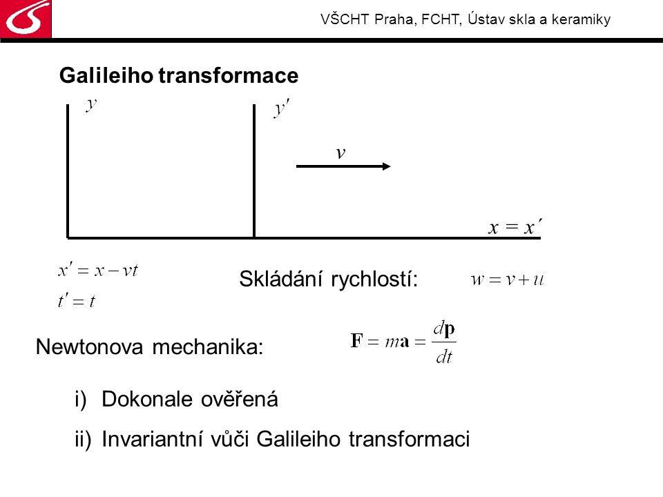 VŠCHT Praha, FCHT, Ústav skla a keramiky Co je skutečným přínosem TR: i)Platnost rovnic může být omezená, i když jsou dlouhou dobu experimentálně ověřeny ii)Kritériem správnosti idejí je experiment iii)Hledání symetrie zákonů