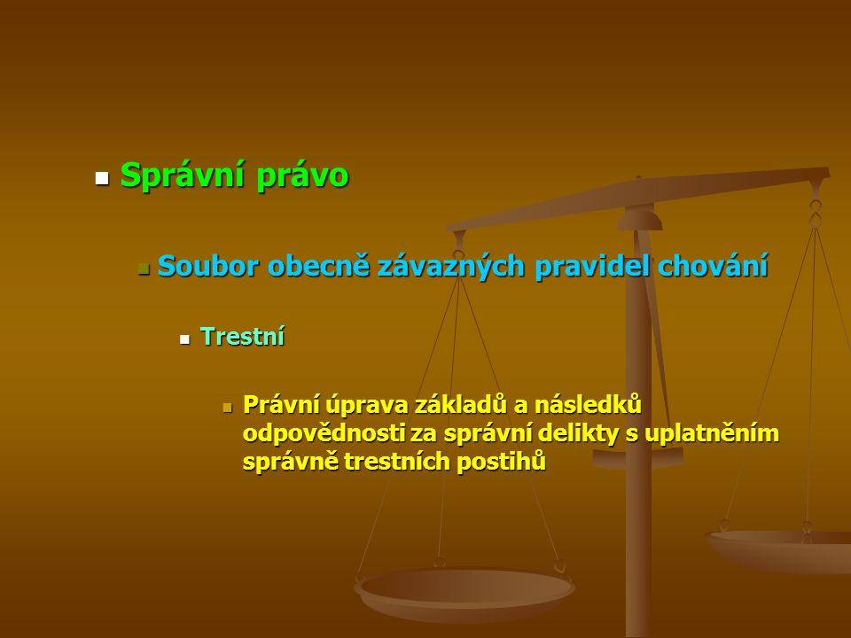 Správní právo Správní právo Soubor obecně závazných pravidel chování Soubor obecně závazných pravidel chování Trestní Trestní Právní úprava základů a následků odpovědnosti za správní delikty s uplatněním správně trestních postihů Právní úprava základů a následků odpovědnosti za správní delikty s uplatněním správně trestních postihů