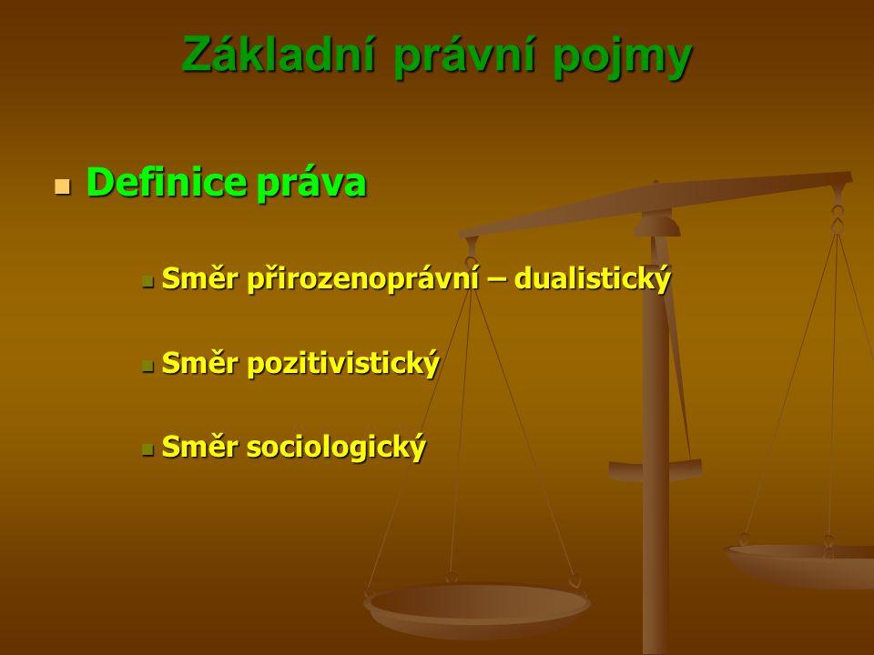 Základní právní pojmy Definice práva Definice práva Směr přirozenoprávní – dualistický Směr přirozenoprávní – dualistický Směr pozitivistický Směr pozitivistický Směr sociologický Směr sociologický