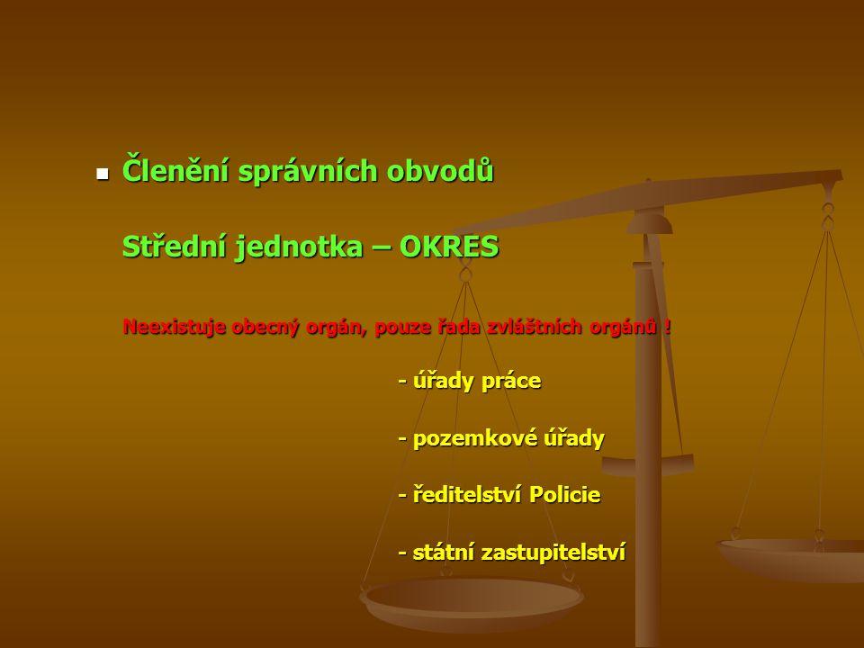 Členění správních obvodů Členění správních obvodů Střední jednotka – OKRES Neexistuje obecný orgán, pouze řada zvláštních orgánů ! - úřady práce - poz