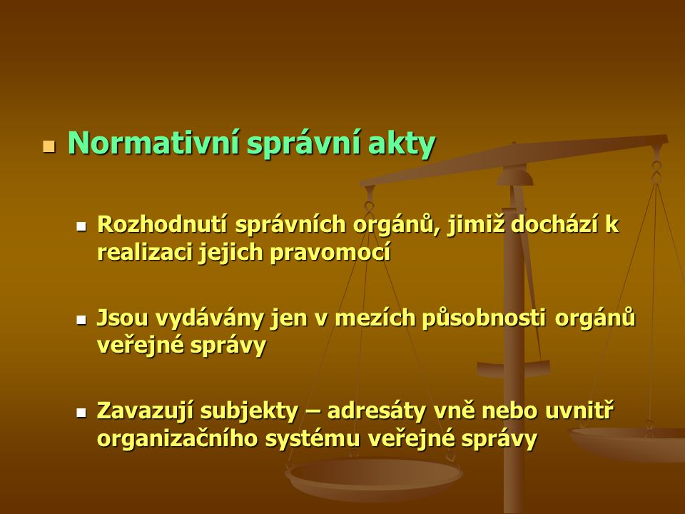 Normativní správní akty Normativní správní akty Rozhodnutí správních orgánů, jimiž dochází k realizaci jejich pravomocí Rozhodnutí správních orgánů, jimiž dochází k realizaci jejich pravomocí Jsou vydávány jen v mezích působnosti orgánů veřejné správy Jsou vydávány jen v mezích působnosti orgánů veřejné správy Zavazují subjekty – adresáty vně nebo uvnitř organizačního systému veřejné správy Zavazují subjekty – adresáty vně nebo uvnitř organizačního systému veřejné správy