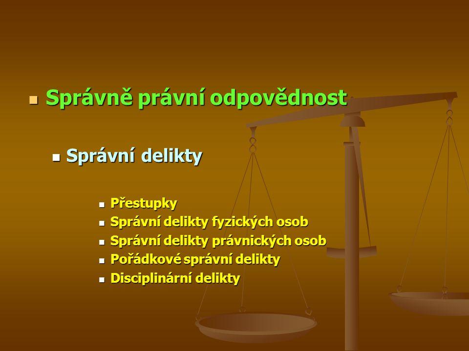 Správně právní odpovědnost Správně právní odpovědnost Správní delikty Správní delikty Přestupky Přestupky Správní delikty fyzických osob Správní delikty fyzických osob Správní delikty právnických osob Správní delikty právnických osob Pořádkové správní delikty Pořádkové správní delikty Disciplinární delikty Disciplinární delikty