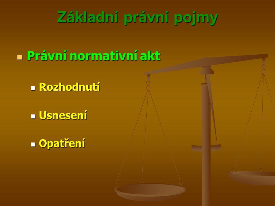 Základní právní pojmy Právní normativní akt Právní normativní akt Rozhodnutí Rozhodnutí Usnesení Usnesení Opatření Opatření