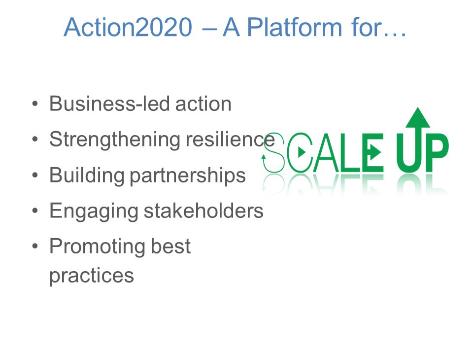 Action2020 – A Platform for… Business-led action Strengthening resilience Building partnerships Engaging stakeholders Promoting best practices