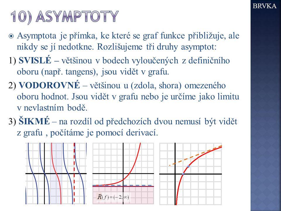 BRVKA  Asymptota je přímka, ke které se graf funkce přibližuje, ale nikdy se jí nedotkne.
