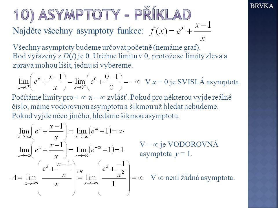BRVKA Najděte všechny asymptoty funkce: Všechny asymptoty budeme určovat početně (nemáme graf).