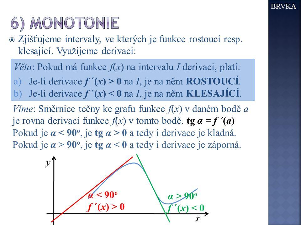 BRVKA  Zjišťujeme intervaly, ve kterých je funkce rostoucí resp.