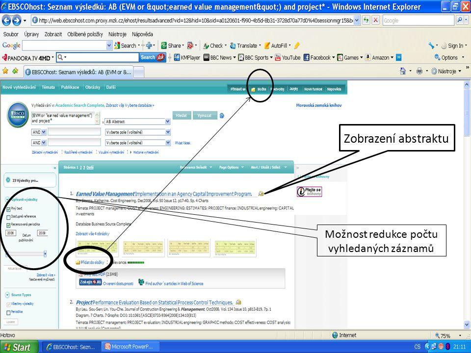 Z Zobrazení abstraktu Možnost redukce počtu vyhledaných záznamů