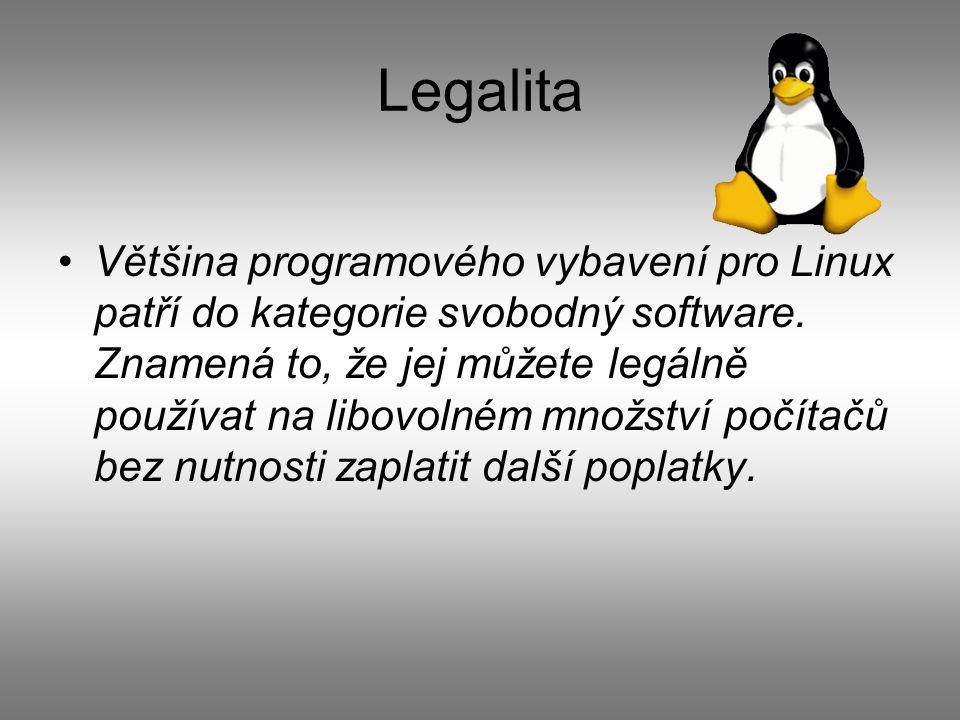 Legalita Většina programového vybavení pro Linux patří do kategorie svobodný software.