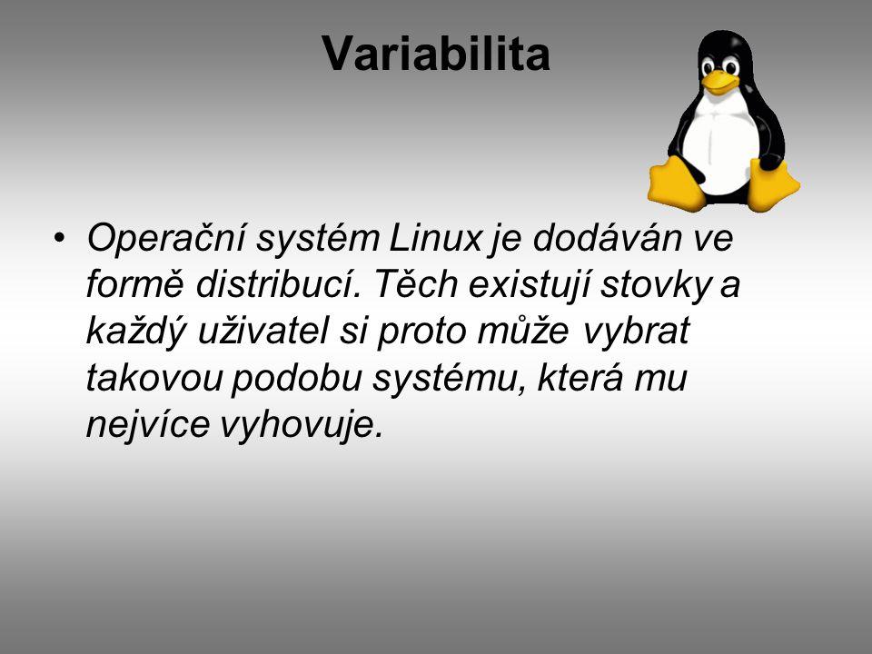 Variabilita Operační systém Linux je dodáván ve formě distribucí.