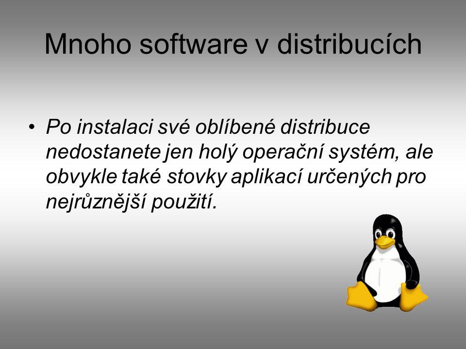 Mnoho software v distribucích Po instalaci své oblíbené distribuce nedostanete jen holý operační systém, ale obvykle také stovky aplikací určených pro nejrůznější použití.