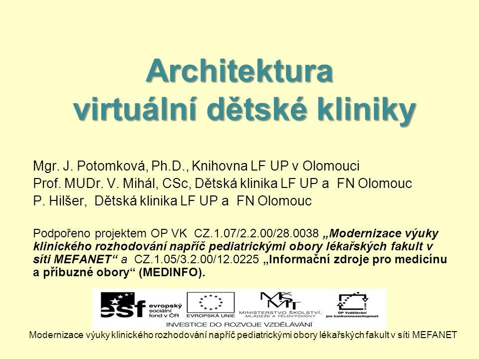 Architektura virtuální dětské kliniky Mgr.J. Potomková, Ph.D., Knihovna LF UP v Olomouci Prof.