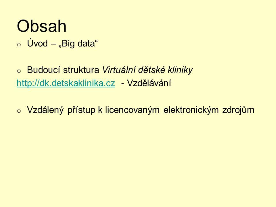 """Obsah o Úvod – """"Big data o Budoucí struktura Virtuální dětské kliniky http://dk.detskaklinika.czhttp://dk.detskaklinika.cz - Vzdělávání o Vzdálený přístup k licencovaným elektronickým zdrojům"""
