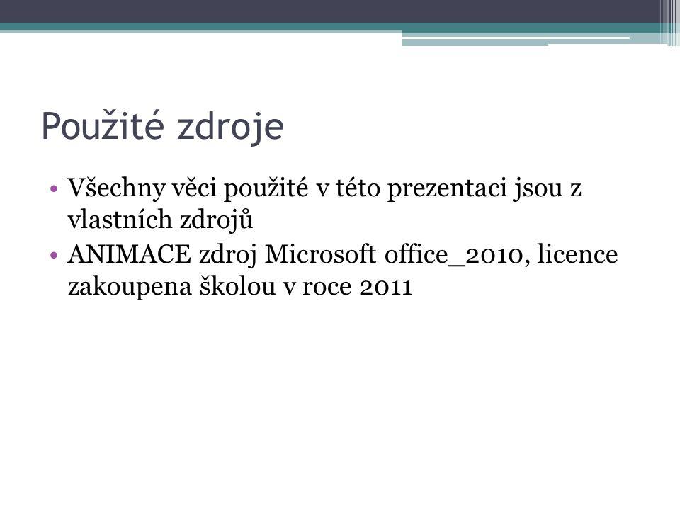 Použité zdroje Všechny věci použité v této prezentaci jsou z vlastních zdrojů ANIMACE zdroj Microsoft office_2010, licence zakoupena školou v roce 2011