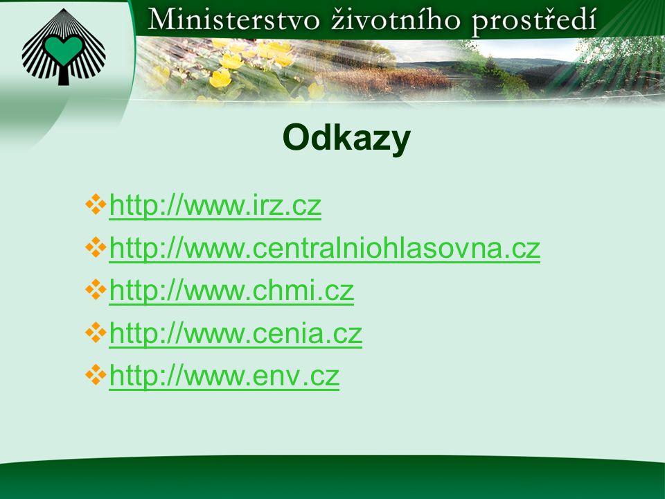 Odkazy  http://www.irz.cz http://www.irz.cz  http://www.centralniohlasovna.cz http://www.centralniohlasovna.cz  http://www.chmi.cz http://www.chmi.cz  http://www.cenia.cz http://www.cenia.cz  http://www.env.cz http://www.env.cz