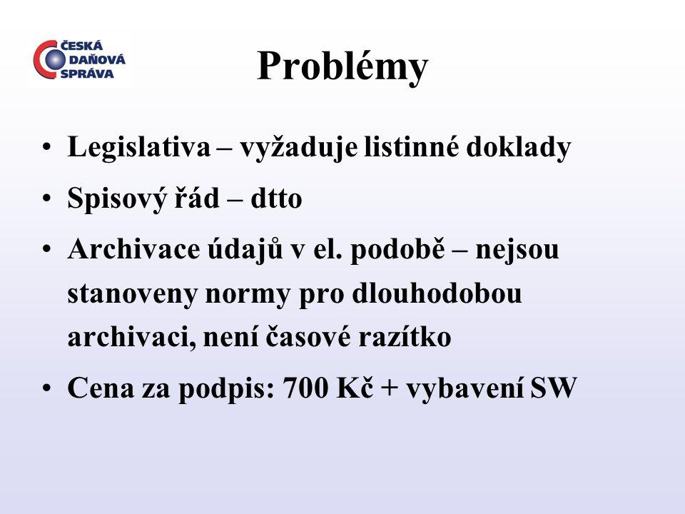 Problémy Legislativa – vyžaduje listinné doklady Spisový řád – dtto Archivace údajů v el. podobě – nejsou stanoveny normy pro dlouhodobou archivaci, n