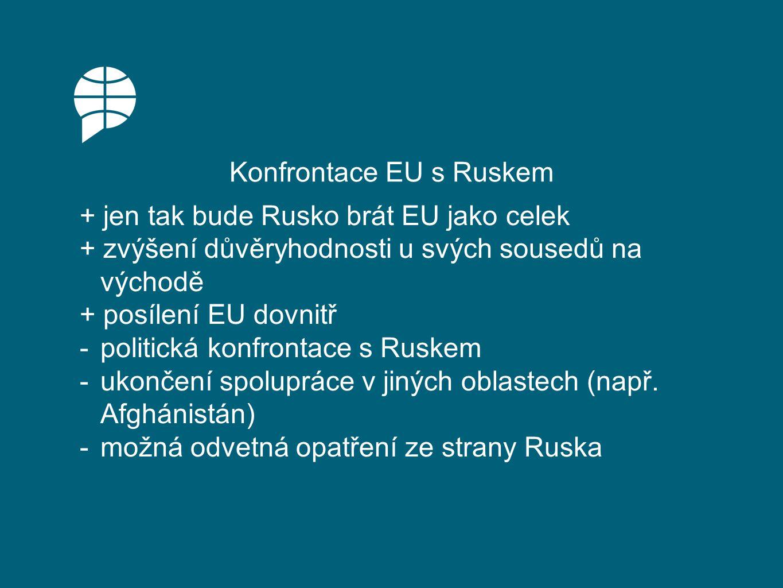 Usmíření s Ruskem + spolupráce s významným dodavatelem ropy a zemního plynu + rozvoj strategického partnerství -postupná ztráta vlivu u východních sousedů EU -přistoupení na dělení na sféry vlivu -vnitřní štěpení uvnitř EU