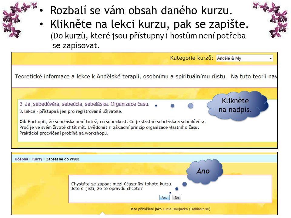 Po zapsání do daného kurzu již vidíte témata kurzu a lekce, které již můžete libovolně otevírat (zobrazují se většinou ve formátu.pdf (Adobe Reader), program je možno stáhnout volně z internetu.