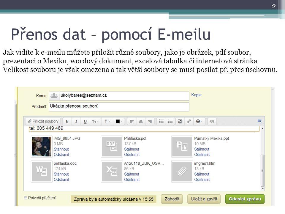 Přenos dat – pomocí E-meilu 2 Jak vidíte k e-meilu můžete přiložit různé soubory, jako je obrázek, pdf soubor, prezentaci o Mexiku, wordový dokument,
