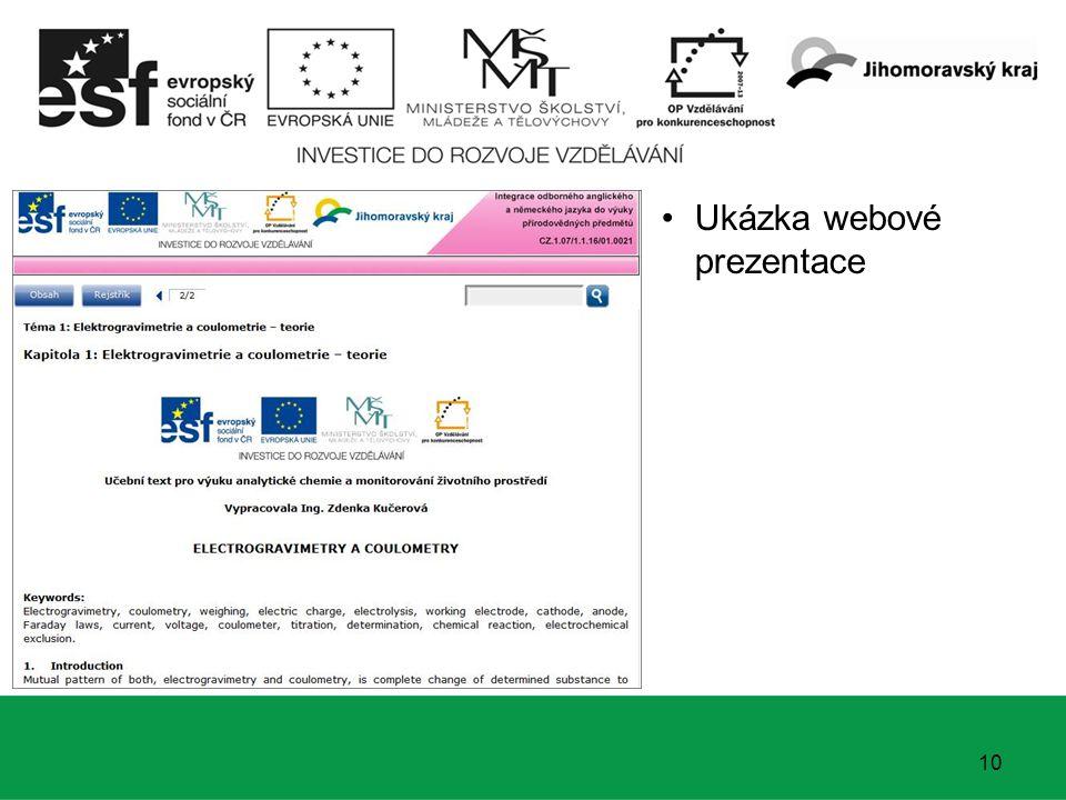 10 Ukázka webové prezentace