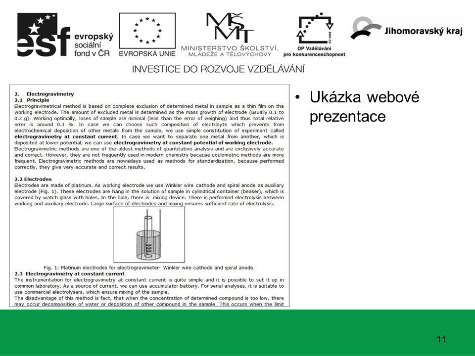 11 Ukázka webové prezentace