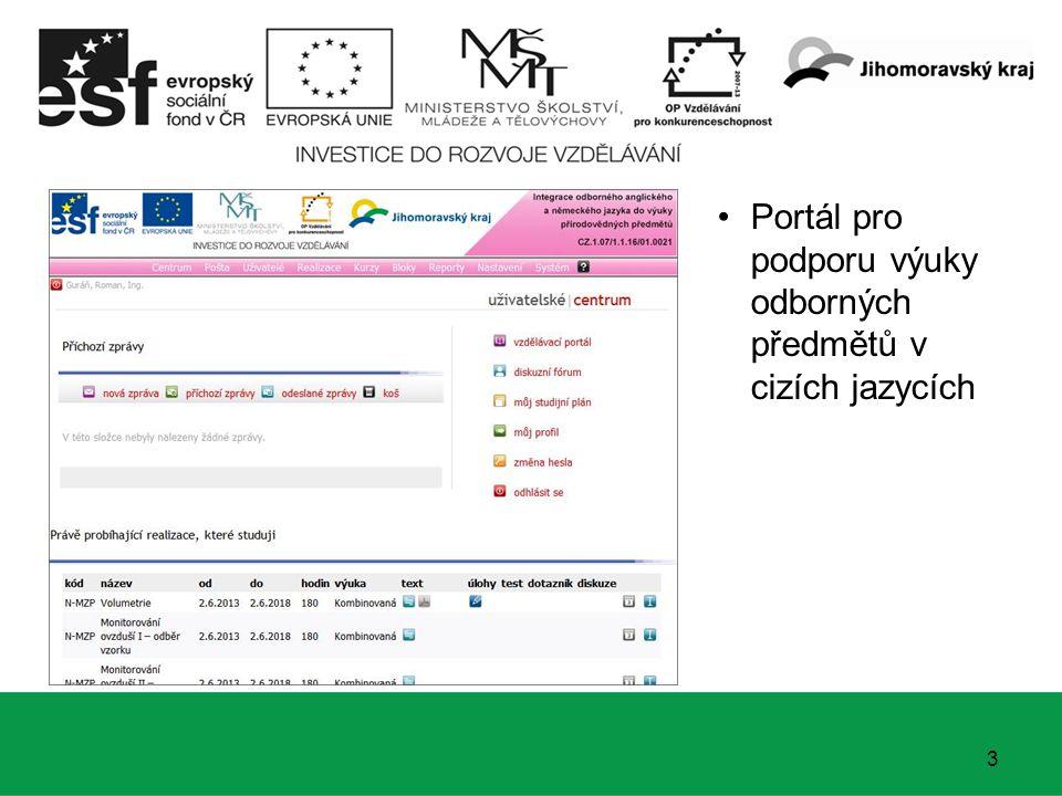 3 Portál pro podporu výuky odborných předmětů v cizích jazycích