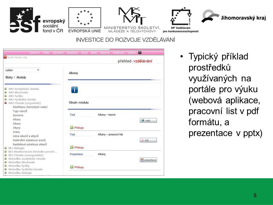 6 Typický příklad prostředků využívaných na portále pro výuku (webová aplikace, pracovní list v pdf formátu, a prezentace v pptx)