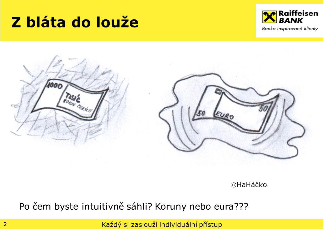 Každý si zaslouží individuální přístup Z bláta do louže 2 HaHáčko Po čem byste intuitivně sáhli? Koruny nebo eura???